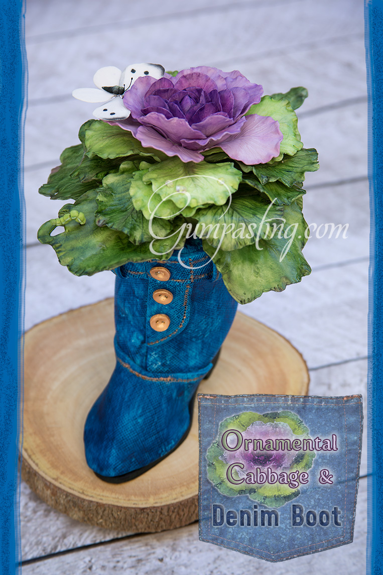 {Ornamental Cabbage With a Butterfly & Caterpillar in a Denim Boot Cake Topper}