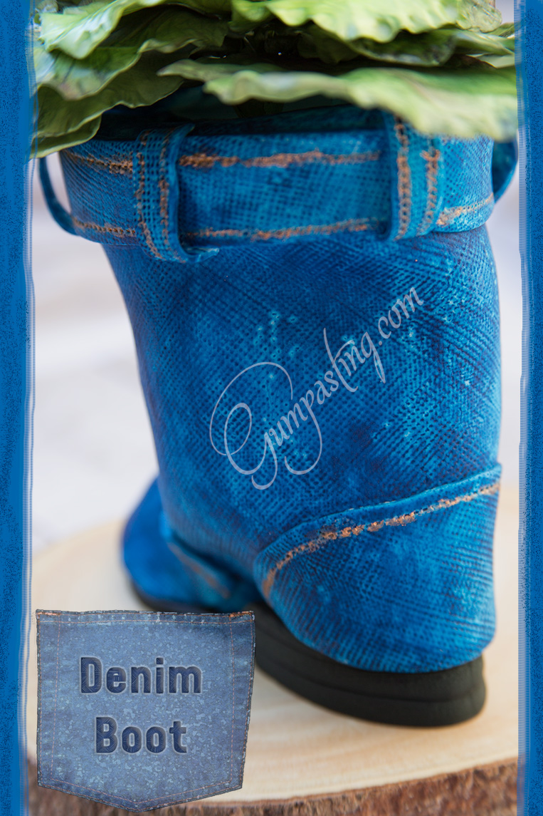 {Gumpaste-Fondant Blue Denim Boot (rear view)}