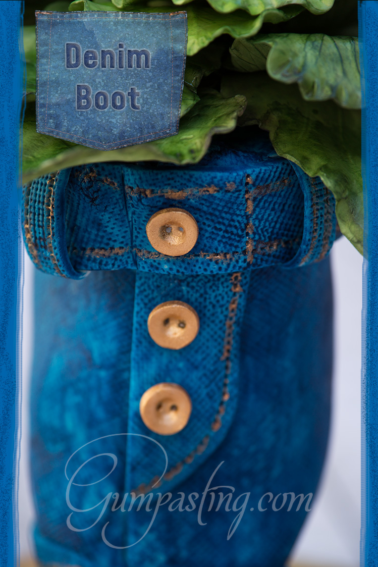 {Gumpaste-Fondant Blue Denim Boot}