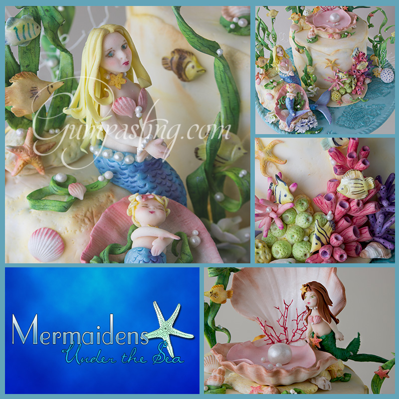 {Gumpaste Mermaidens and Under the Sea Collage with Fish, Shells and Coral}