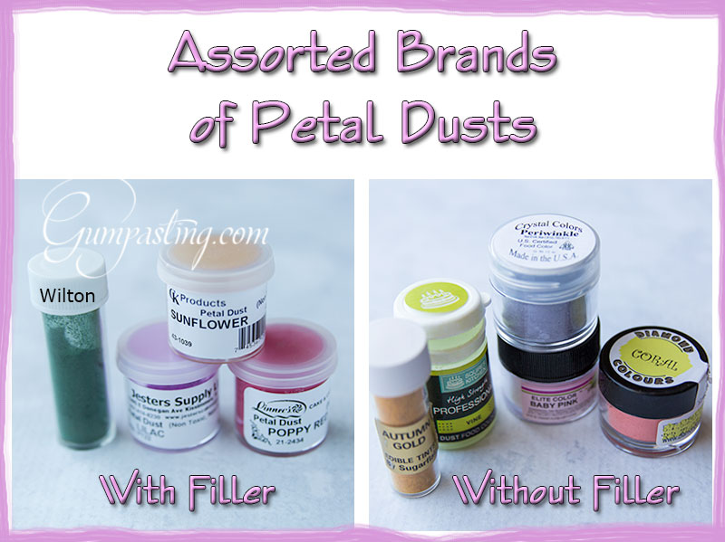 {Assorted Brands of Petal Dust With Filler and Without Filler}